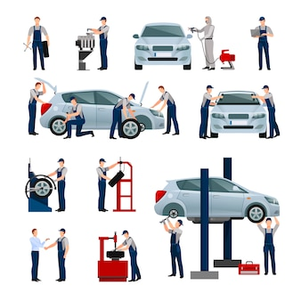 Płaskie ikony ustawiać różni pracownicy w samochodzie
