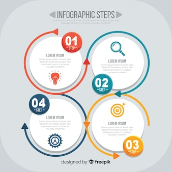 Płaskie infographic kroki