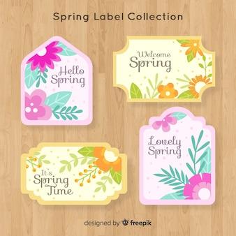 Płaskie kwiaty zestaw etykiet wiosna