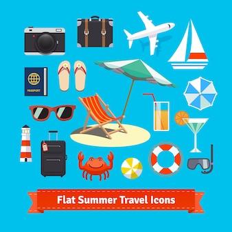 Płaskie letnie ikony podróży. Wakacje i turystyka
