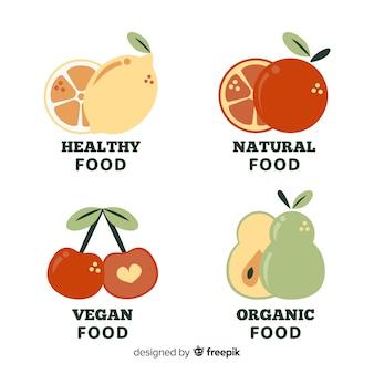 Płaskie logo zdrowej żywności