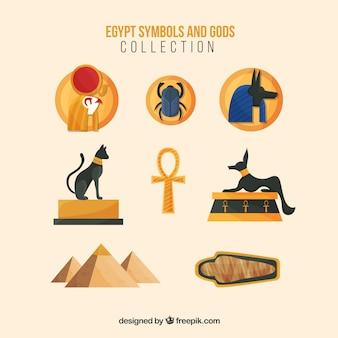 Płaskie symbole egipskich symboli i bogów