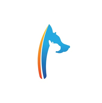 P letter logo cat and dog