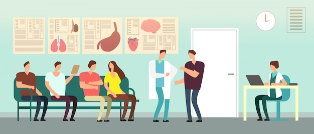 Pacjenci i lekarz w poczekalni szpitala. osoby niepełnosprawne w biurze lekarzy. koncepcja wektor opieki zdrowotnej