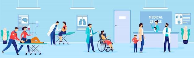 Pacjenci i lekarz w szpitalu, osoby niepełnosprawne w przychodni lekarskiej, ilustracja kreskówka opieki zdrowotnej, centrum medyczne.