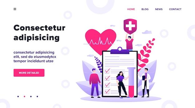 Pacjenci i lekarze reklamują ubezpieczenie zdrowotne. osoby przedstawiające listę kontrolną stanu zdrowia. ilustracja do opieki zdrowotnej, ochrony, bezpieczeństwa, koncepcji usług medycznych