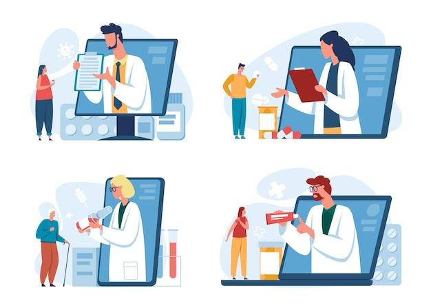 Pacjenci konsultacja online lekarz za pomocą smartfona wirtualna wizyta lekarska apteka telemedycyna