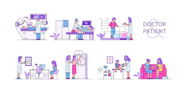 Pacjenci odwiedzają lekarki dla medycyny, badanie medyczne kolekcja z ludźmi dla zdrowie diagnostycznego odosobnionej ilustraci.