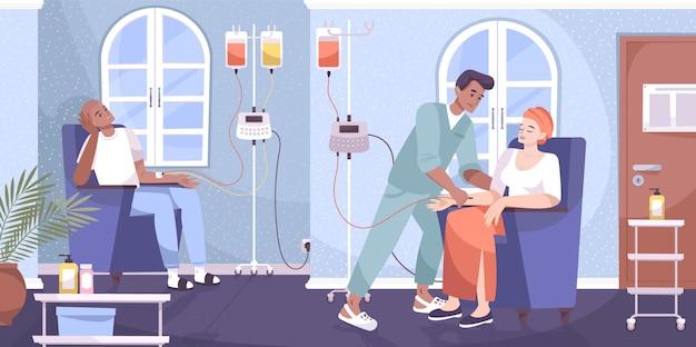 Pacjenci onkologiczni poddawani dożylnej chemioterapii infuzyjnej leczenie raka podawane przez pielęgniarza płaska kompozycja