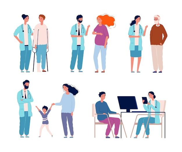 Pacjenci szpitali. lekarze konsultują dialog z grupami opieki zdrowotnej pacjentów w leczeniu klinicznym. ilustracja opieki medycznej, dialog pacjenta i lekarza