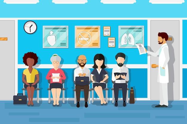 Pacjenci w poczekalni lekarzy. pacjent i lekarz, pacjent w szpitalu, przychodnia wnętrz biurowych, pacjent oczekujący. ilustracja