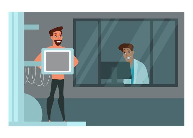 Pacjent biorąc prześwietlenie klatki piersiowej, uśmiechnięty młody lekarz patrząc na monitor