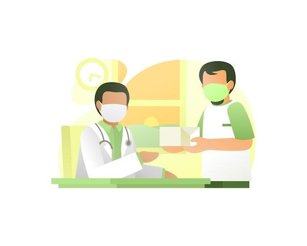 Pacjent daje prezent lekarzowi ilustracja