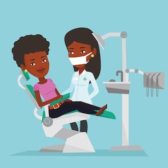 Pacjent i lekarz w gabinecie dentystycznym.