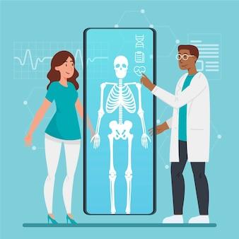 Pacjent jest badany przez lekarza w przychodni