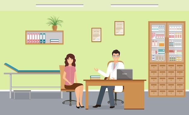 Pacjent kobieta na konsultacji lekarzy w gabinecie ilustracji