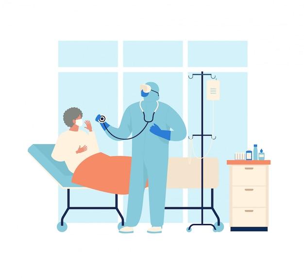 Pacjent koronawirusa jest w szpitalu. nowatorski koronawirus 2019 ncov, ludzie w specjalnej odzieży ochronnej, białej i medycznej masce na twarz. koncepcja ilustracji kwarantanny koronawirusa
