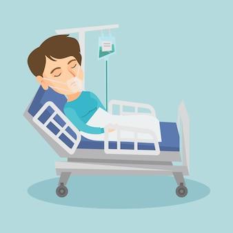 Pacjent leżący w łóżku szpitalnym z maską tlenową.