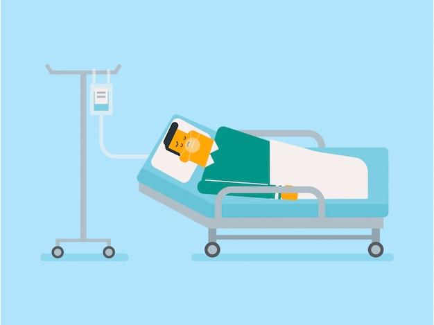 Pacjent leży w szpitalnym łóżku z maską tlenową.