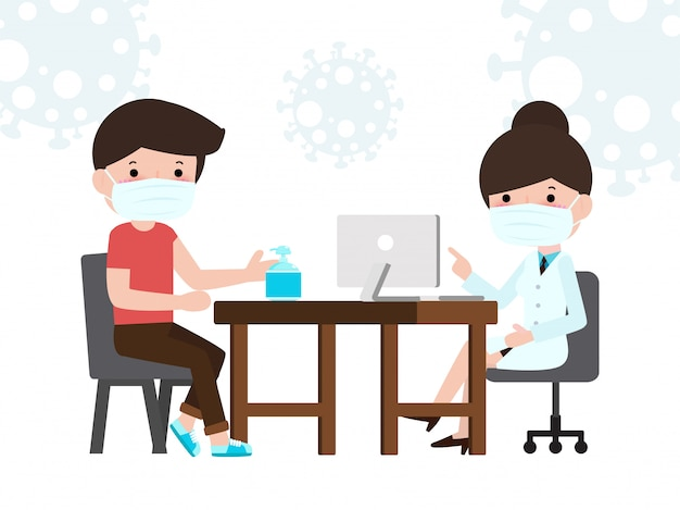 Pacjent mężczyzna na konsultacji lekarskiej w biurze kliniki. konsultacja z lekarzem i diagnoza wirusa epidemicznego wuhan koronawirusa 2019-ncov pandemiczne medyczne ryzyko zdrowotne koncepcje ilustracja mieszkanie.