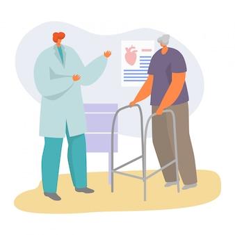 Pacjent na doktorskiej nominacyjnej ilustraci, kreskówka starszy charakter odwiedza kardiologa, starsza opieka zdrowotna na bielu