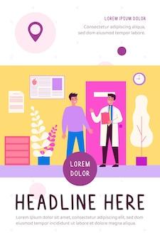 Pacjent odwiedzający gabinet lekarski płaski ilustracja