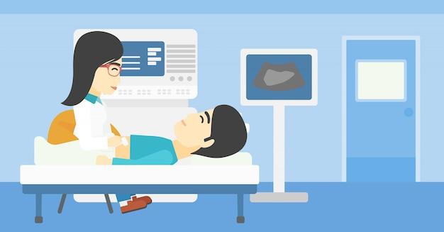 Pacjent podczas badania usg.