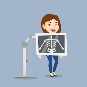 Pacjent podczas ilustracji procedury x ray