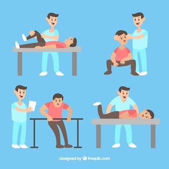 Pacjent robi ćwiczenia z fizjoterapeutą