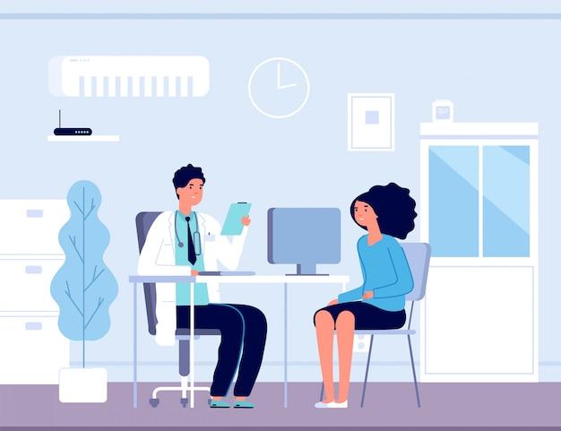 Pacjent w gabinecie lekarskim. konsultacja lekarska z lekarzem. diagnoza leczenia pacjentów w szpitalu, koncepcja wektor opieki zdrowotnej