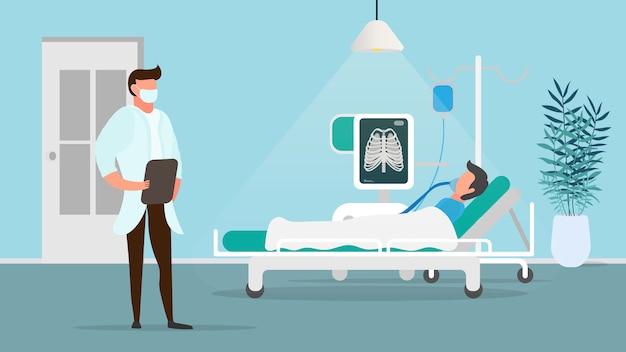 Pacjent z chorobą płuc. osoba leży podłączona do sztucznego płucnego aparatu płucnego. oddział, szpital, lekarz, pacjent. ilustracja przedniej szyby.