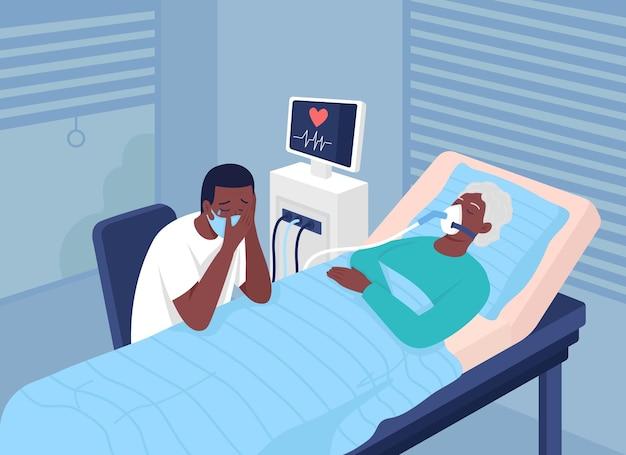 Pacjent z ciężkim koronawirusem ilustracja wektorowa płaski kolor