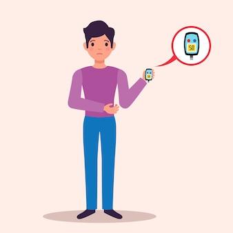 Pacjent z cukrzycą, trzymając monitor glukometru z wynikiem testu płaskiej postaci reklamy medycznej