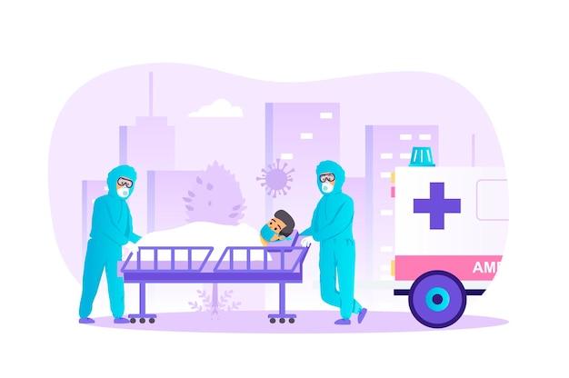 Pacjent z koronawirusem jest hospitalizowany przez pogotowie ratunkowe o płaskiej konstrukcji z ludźmi