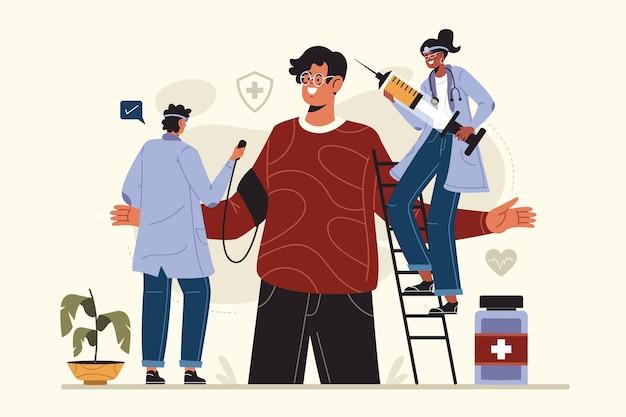 Pacjent z płaskim wyciągnąć rękę na badanie lekarskie