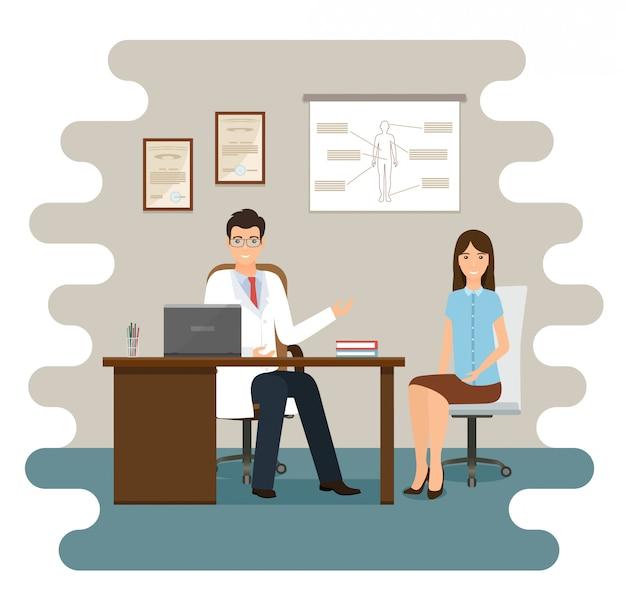 Pacjentka na konsultacji lekarskiej w gabinecie kliniki. mężczyzna lekarz i pacjentka postaci siedzi w szpitalnej sali konsultacji. ilustracja. koncepcja opieki zdrowotnej w płaskiej konstrukcji