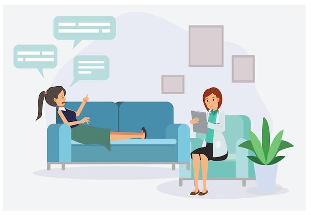 Pacjentka z psychologiem lub psychoterapeutą siedzi na kanapie. sesja psychoterapeutyczna. zdrowie psychiczne, depresja. płaska wektorowa postać z kreskówek ilustracja .