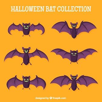 Pack halloween nietoperze w płaskim stylu