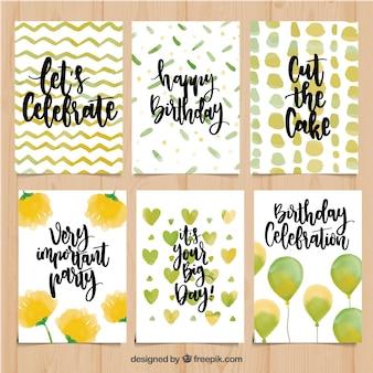 Pack kart urodzinowych akwareli z wiadomościami