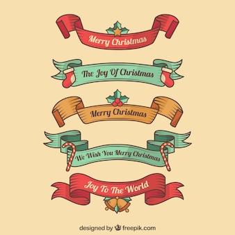 Pack of hand drawn christmas wstążki retro