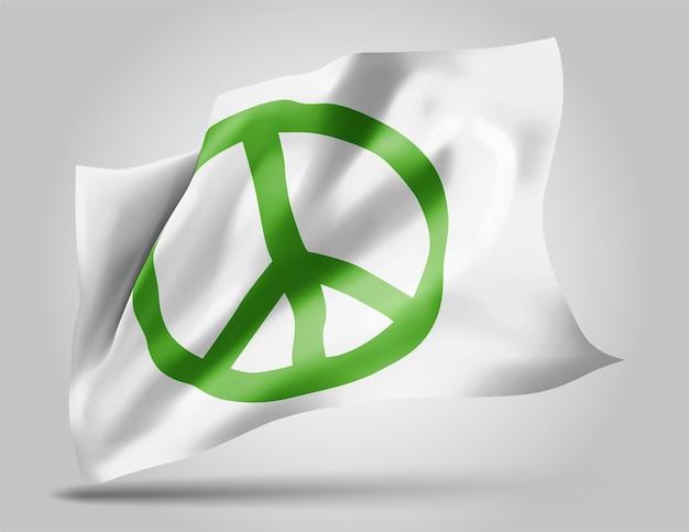 Pacyfizm, wektor 3d flaga na białym tle
