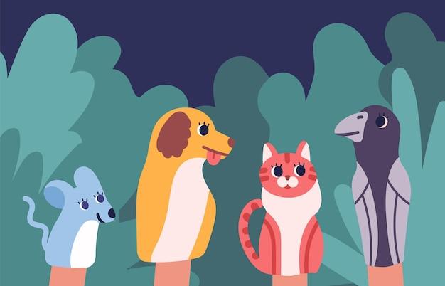 Pacynki zwierząt, którymi manipuluje lalkarz. tradycyjne, rozrywkowe przedstawienie teatralne i opowiadanie historii dla dzieci z postaciami z bajek.