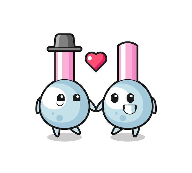 Pączek do bawełnianej postaci z kreskówki para z zakochanym gestem, ładny styl na koszulkę, naklejkę, element logo