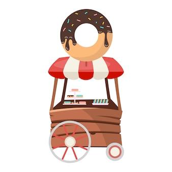 Pączek jedzenie ciężarówka ilustracja płaski. mini sklep z cukierkami na kółkach. sprzedaż deserów. pojazd z jedzeniem ulicznym. handel przekąskami był uczciwy.