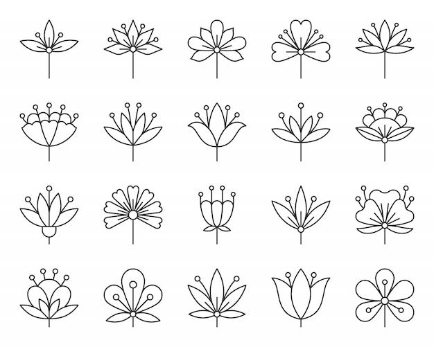 Pączek kwiatu streszczenie stylizowane wiosna kwiatowy znak, zestaw ikon prostej linii geometrycznej.