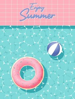Pączek nadmuchiwany unoszący się w basenie z 3d i papierowym stylem artystycznym i pastelowym kolorem