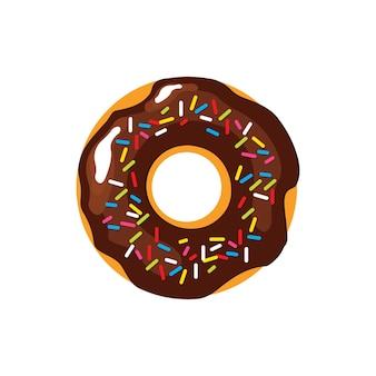 Pączek w polewie czekoladowej i kolorowej posypce. ilustracja wektorowa słodyczy eps10