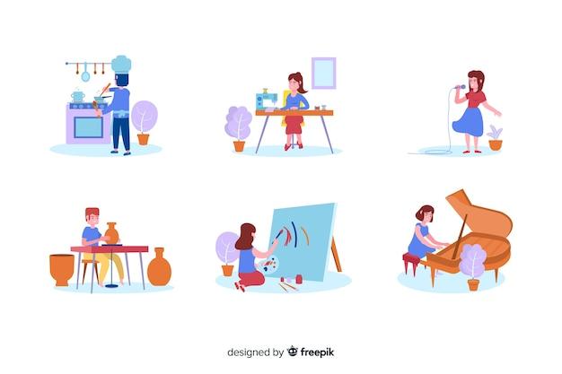 Paczka artystów w pracy
