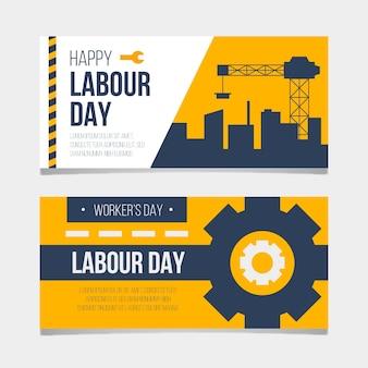 Paczka banery dzień pracy płaska konstrukcja