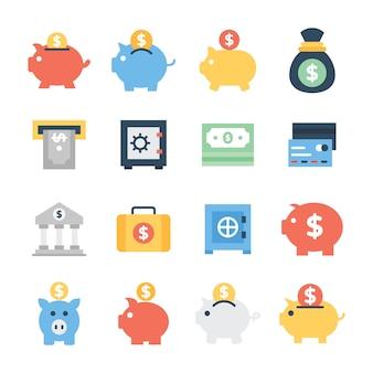 Paczka bankowości płaskie ikony
